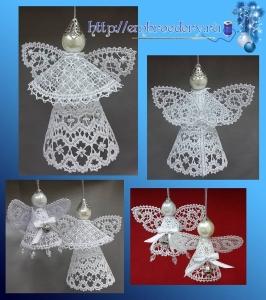 Вышитые рождественские ангелочки