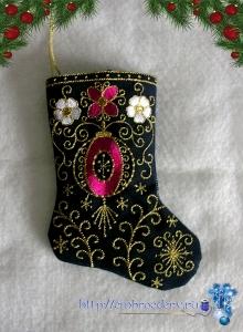 Новогодний носок, он же сапожек