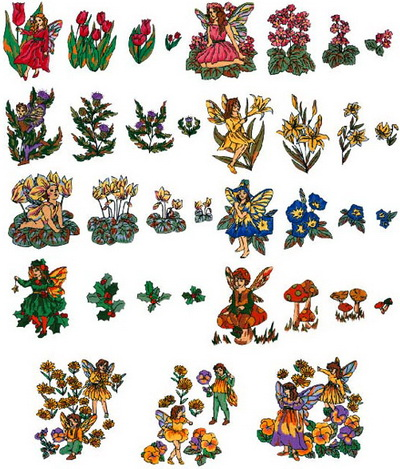 Коллекция Brother Embroidery Card 50 Fairy and Floral Designs